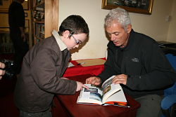 Jeremy and young lad at book signing